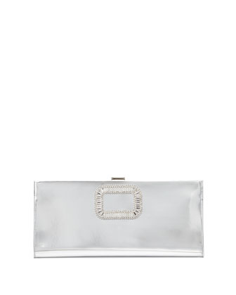 Pilgrim Small Mirror Calfskin Clutch Bag, Silver