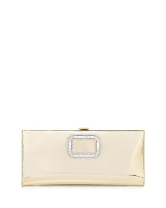 Pilgrim Crystal-Buckle Clutch Bag, Gold Mirror