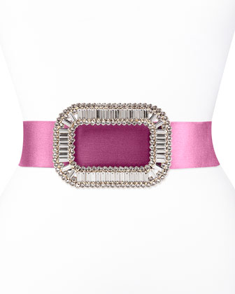 Pilgrim Crystal-Buckle Belt, Fuchsia