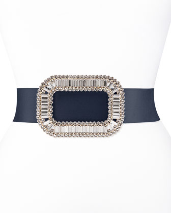 Pilgrim Crystal-Buckle Belt, Navy