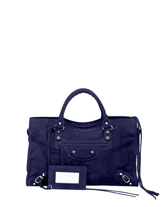 Classic City Baby Daim Suede Bag, Navy Blue