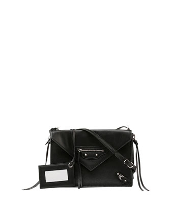 Papier Envelope Crossbody Bag, Black