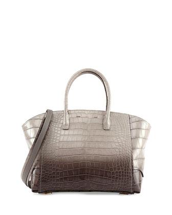 Brera 34 Alligator Satchel Bag, Gray