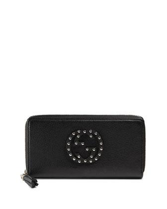 Soho Leather Zip-Around Wallet, Nero