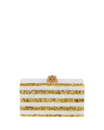 Jean Confetti-Striped Box Clutch Bag, White/Golden