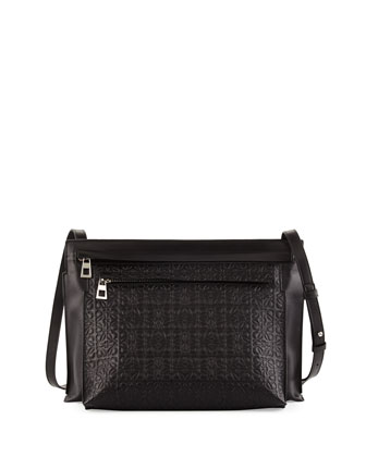 Large Embossed Double-Pouch Crossbody Bag, Black