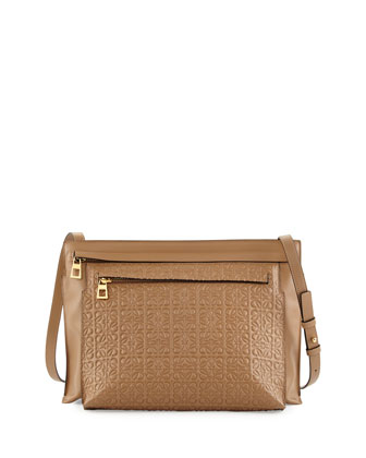 Large Embossed Double-Pouch Crossbody Bag, Tan
