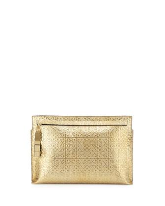 Large Logo-Embossed Clutch Bag, Gold