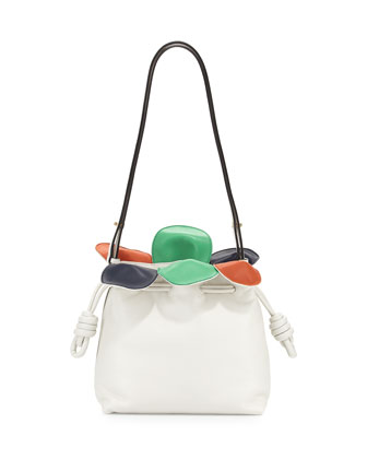 Flamenco Small Petal Bag, White Multi