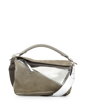 Leather & Suede Small Puzzle Bag, Silver