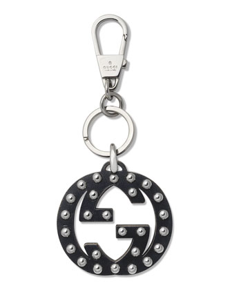 Stud Interlocking GG Key Ring Charm, Nero