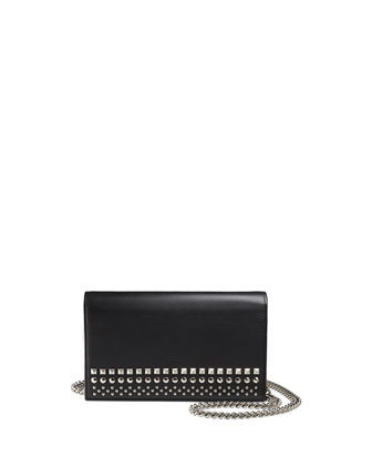 Studded Leather Chain Wallet, Nero