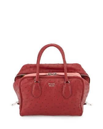 Medium Ostrich Inside Bag, Dark Cherry/Pink (Cerise+Tamaris)