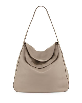 Vitello Daino Doubled Flap-Top Hobo Bag, Clay (Argilla)