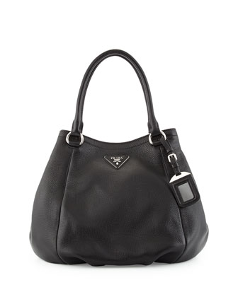Vitello Daino Small Satchel Bag, Black (Nero)