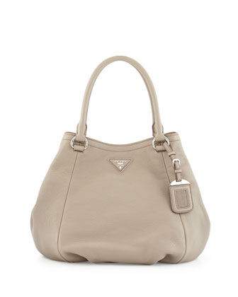 Vitello Daino Small Satchel Bag, Clay (Argilla)