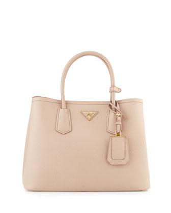 Saffiano Cuir Small Double Bag, Blush/Rose (Cammeo+Rosa)
