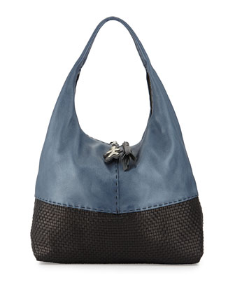 Canotta Woven Cervo Hobo Bag, Navy/Bicolor