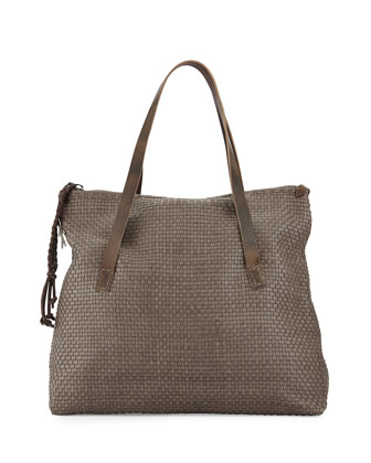 Lady Amazone Medium Woven Fold-Over Tote Bag