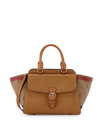 Brit Medium Grainy Canvas Check Satchel Bag, Saddle Brown