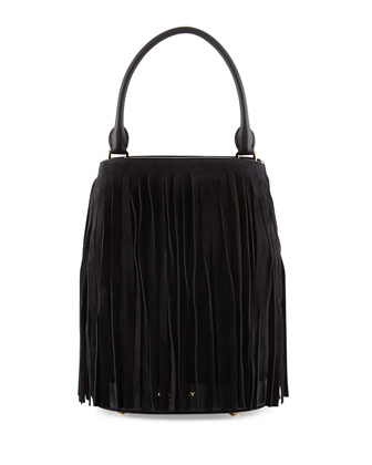 Prorsum Suede & Leather Fringe Bucket Bag, Black