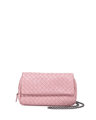 Intrecciato Small Chain Crossbody Bag, Pink