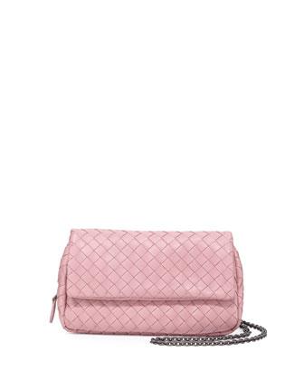 Intrecciato Small Chain Crossbody Bag, Pink