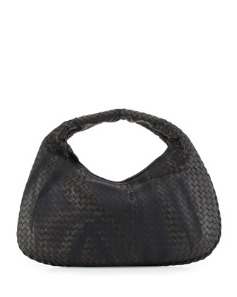 Veneta Intrecciato Large Shadow Hobo Bag, Nero