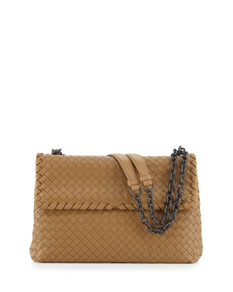 Olimpia Medium Intrecciato Shoulder Bag, Camel