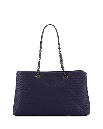 Intrecciato Double Chain Tote Bag, Atlantic Blue