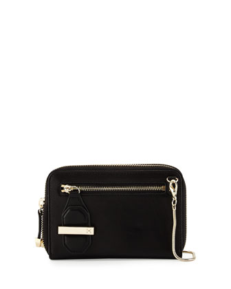 Mini Double-Zip Leather Shoulder Bag, Black