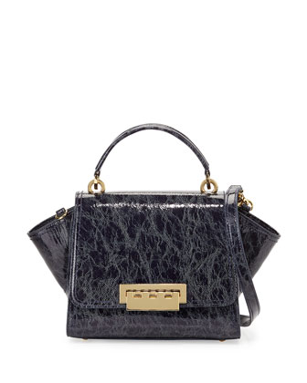 Eartha Patent Faux-Leather Mini Satchel Bag, Navy