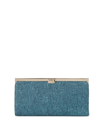 Camille Metallic Frame Clutch Bag, Ocean Blue
