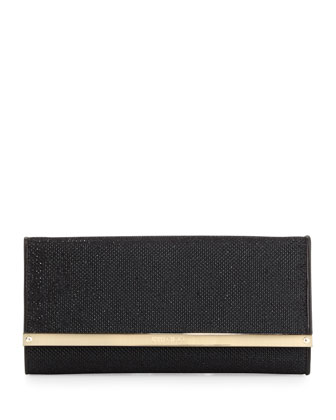 Milla Large Glitter Clutch Bag, Black