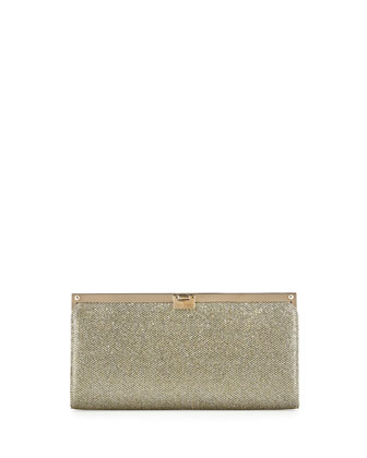 Camille Metallic Frame Clutch Bag, Light Brown