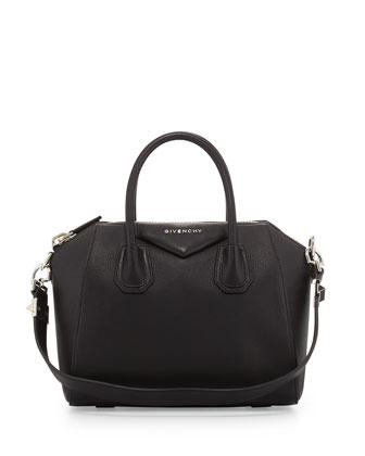 Antigona Small Leather Satchel Bag, Black