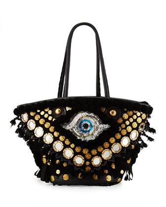 Tuk Tuk Medium Evil-Eye Tote Bag, Black
