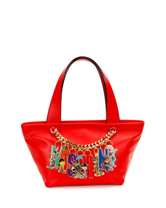 Looney Tunes Leather Charm Tote, Red