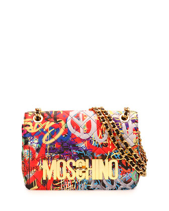 Graffiti-Print Quilted Shoulder Bag, Multicolor
