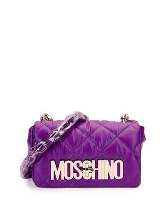 Quilted Nylon Flap Shoulder Bag, Purple