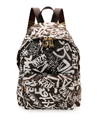 Graffiti Quilted Leather Backpack, Black Multi