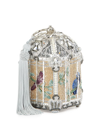 Birdcage Crystal Clutch Bag, Silver Champagne