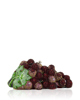 Grape Cluster Crystal Clutch Bag, Silver/Crimson
