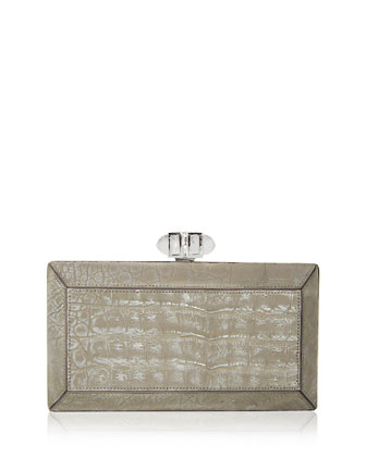 Coffered Crocodile Minaudiere, Cream