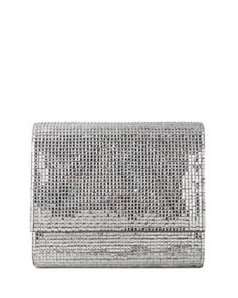 Soho Square-Beaded Crossbody Bag, Silver