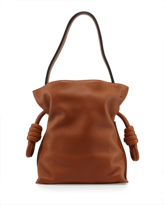 Flamenco Small Knot Bucket Bag, Tan