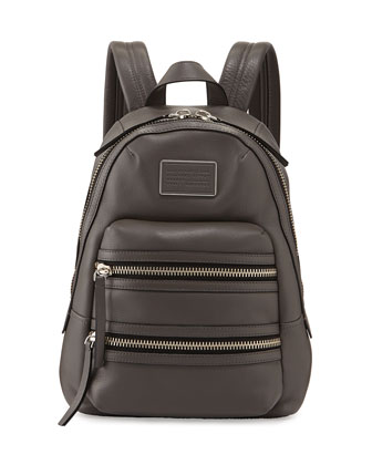 Domo Leather Biker Backpack, Faded Aluminum