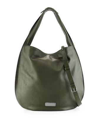 New Q Zippers Huge Hillier Hobo Bag, Spanish Moss