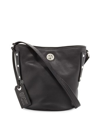 C-Lock Leather Bucket Bag, Black