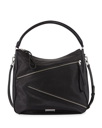 Serpentine Goat Leather Hobo Bag, Black